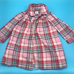 Baby Gap girls plaid button up dress 18/24 months